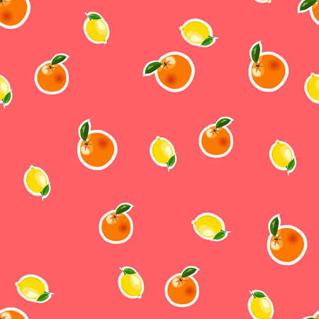 Seamless pattern with small lemons and oranges stickers different sizes with leaves on red background.