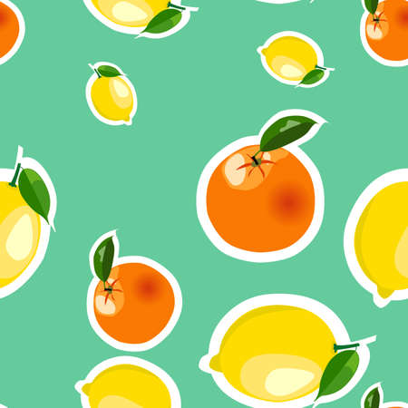Seamless pattern with lemons and oranges stickers different sizes with leaves on turquoise background.