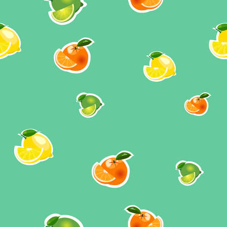 Seamless pattern with small lemons, limes and oranges stickers different sizes with leaves and slices on turquoise background.