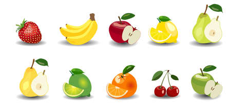 apples and oranges: Glossy style set of apples, bananas, pears, oranges, lemon, lime strawberry and cherry