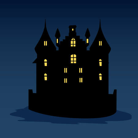 awful: A halloween black castle with yellow windows. Vector illustration. Dark blue background Illustration