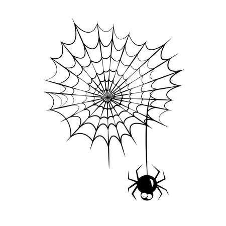 Cute spider and webs over white background. Vector illustration