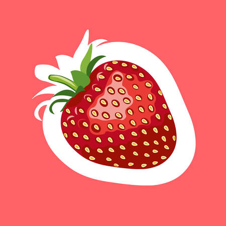 Beautiful red strawberry stickers. Vector illustration. Red background