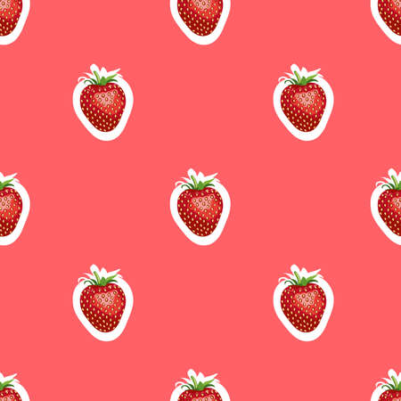 Seamless pattern of realistic image of delicious ripe strawberries same sizes. Red background