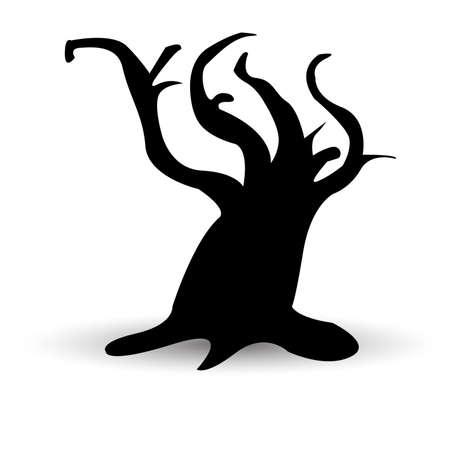 Halloween vector scary tree. Black illustration. Ghost face