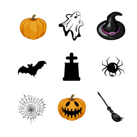 Halloween icons set. Pumpkin with ghost and witch hat. Bat with tomb and spider web with broom