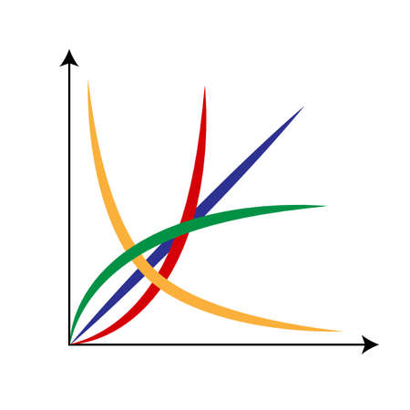 Cartesian Coordinate System With Red, Blue, Green and Yellow Lines. Illustration