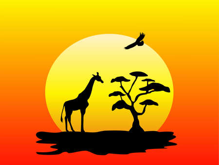 Silhouette of a giraffe, tree and flying bird at sunset