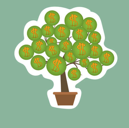 Dollars tree sticker with pot and icons. White background. Vector illustration