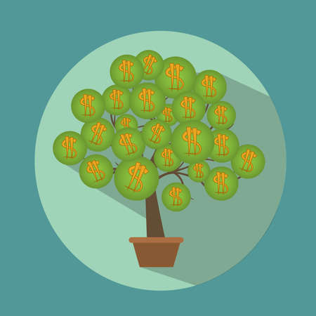 biz: Dollars tree with pot flat and icons. White background. Vector illustration