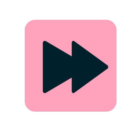 Illustration de l'icône de la prochaine piste media player. Icône plate rose. Vecteur