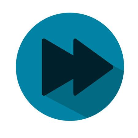 Ilustración siguiente del icono del reproductor multimedia de la pista. Icono plano azul. Vector