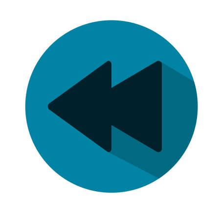 Illustration d'icône de lecteur multimédia précédent. Icône plate bleue. Vecteur