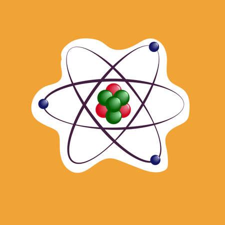 Atom sticker icon on orange background. Vector flat design.