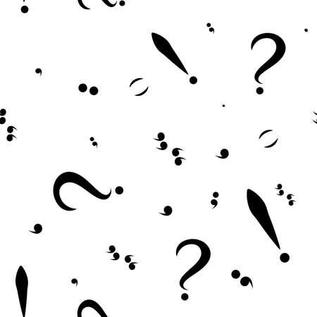 point d interrogation: Seamless avec des marques de ponctuation noires. Fond blanc. Vecteur Illustration