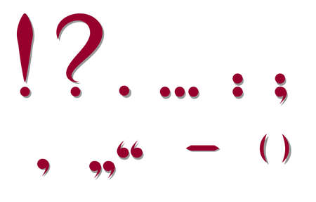 Red punctuation marks. Vector picture Illustration