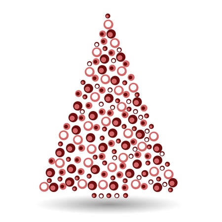 Simple abstract christmas tree of dots, or circles, in a triangle shape. Red illustration on white background.