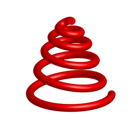 date night: Red big simple volume christmas tree in the form of a spiral. Vector