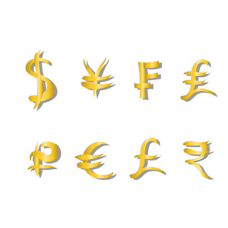 frank: Set of main currency signs. Signs of dollar and yen, frank and liras, euro and pound with rupee. Vector