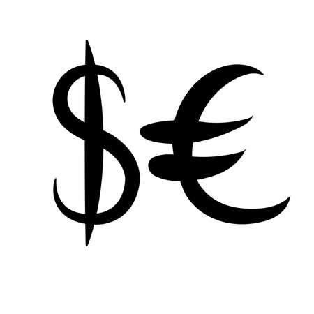 Black set of main currency signs. Signs of dollar and euro on white background. Vector