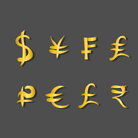 Set of main currency signs on gray background. Signs of dollar and yen, frank and lira, euro and pound with rupee. Vector