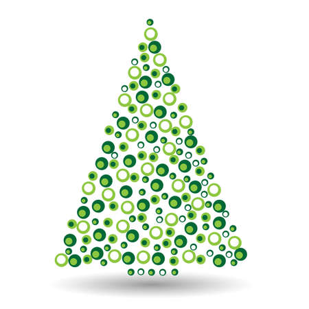 Simple abstract christmas tree of dots, or circles, in a triangle shape. Green illustration on white background.