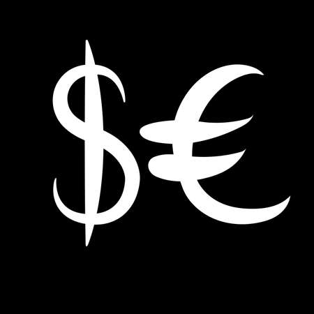 White set of main currency signs. Signs of dollar and euro on black background. Vector