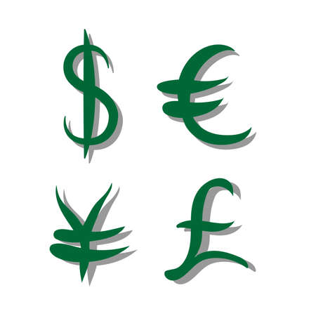 Green set of main currency signs with shadow. Signs of dollar and yen, euro and pound. Vector