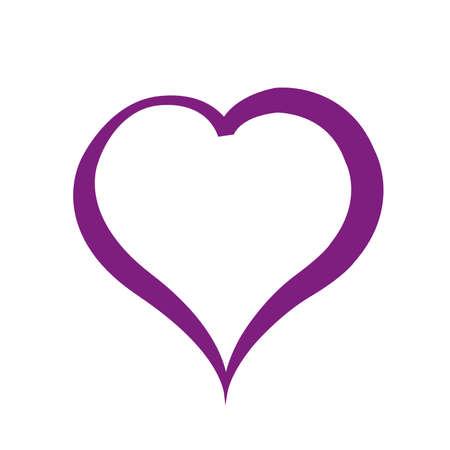 Purple heart on white background. Flat