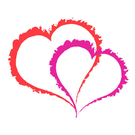 Two scarlet and purple fat caracole heart on white background. Stock Photo