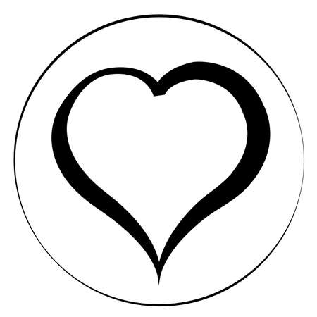 black and white: Black heart on white background in circle. Flat