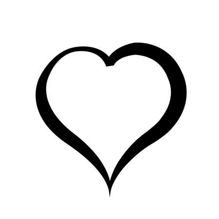 black and white: Black heart on white background.