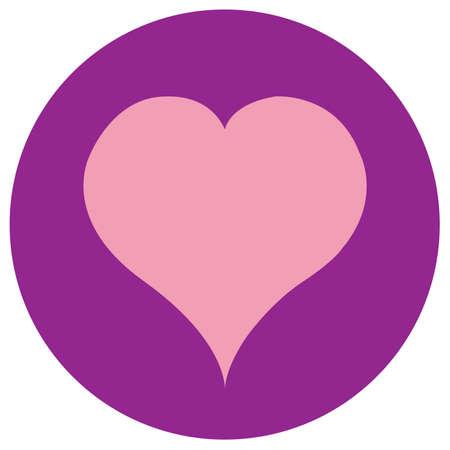 flat: Cream heart on pink background. Flat Illustration