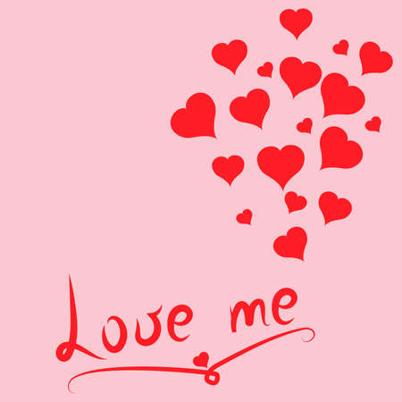 Love Me postcard with red hearts. Valentines day. Pink background. Vector Illustration