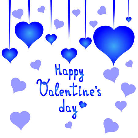 Happy Valentines day postcard with blue hearts. Valentines day. White background. Vector Illustration