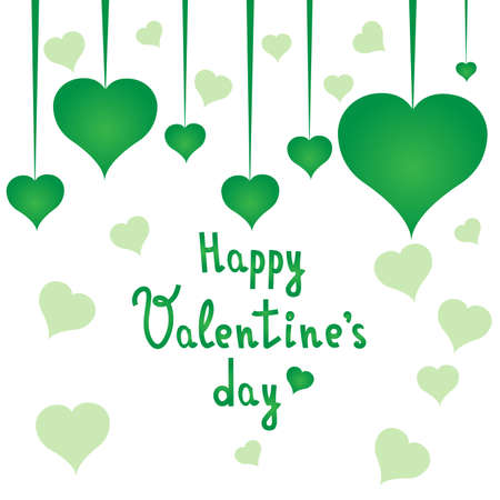 Happy Valentines day postcard with green hearts. Valentines day. White background. Vector