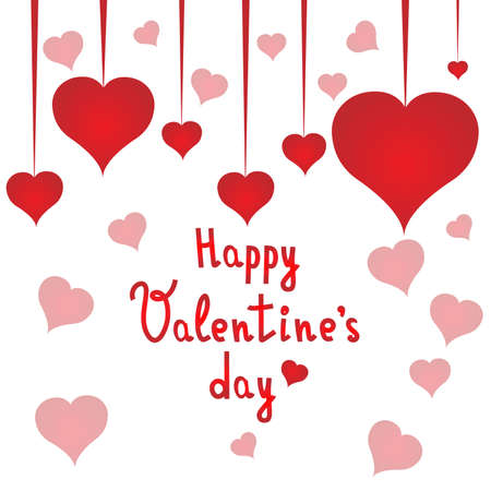 Happy Valentines day postcard with red hearts. Valentines day. White background. Vector