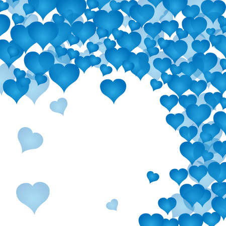 Postcard with many blue hearts. Valentines day. White background. Vector