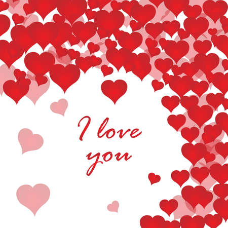 I love you postcard with many red hearts. Valentines day. White background. Vector