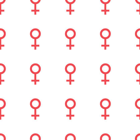 Seamless pattern with the female symbols. Female signs same sizes. Gender icons. Vector