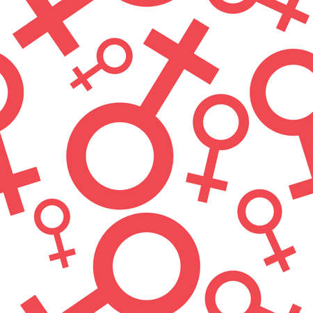 Seamless pattern with the female symbols. Female signs different sizes. Gender icons. Vector