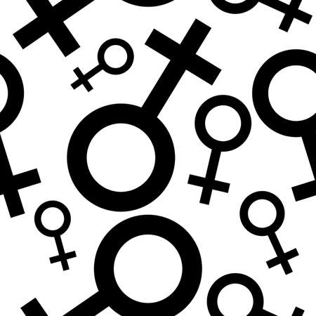 potency: Seamless pattern with the female black symbols. Female signs different sizes. Gender icons. Vector