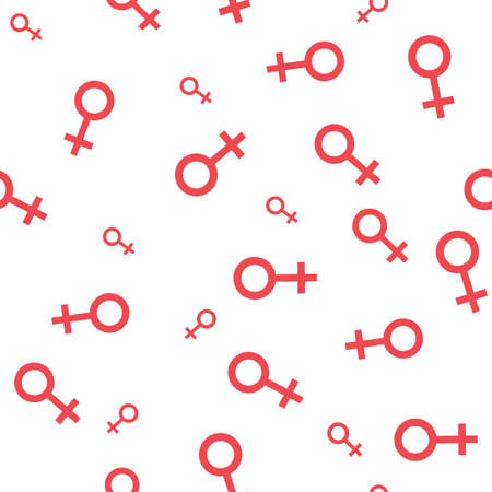 Seamless pattern with the female symbols. Female small signs different sizes. Gender icons. Vector