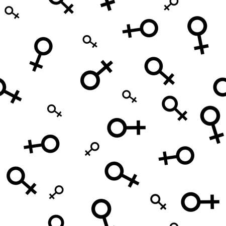 active arrow: Seamless pattern with the black female symbols. Female small signs different sizes. Gender icons. Vector