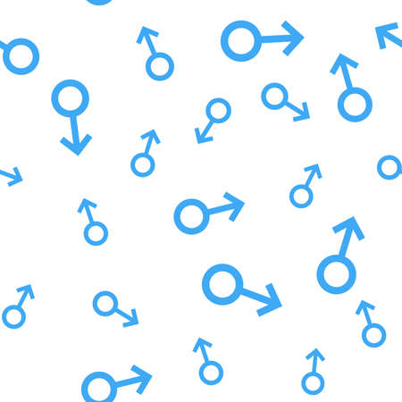 Seamless pattern with the male symbols. Male small signs different sizes. Gender icons. Vector Illustration