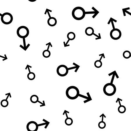potency: Seamless pattern with the black male symbols. Male small signs different sizes. Gender icons. Vector