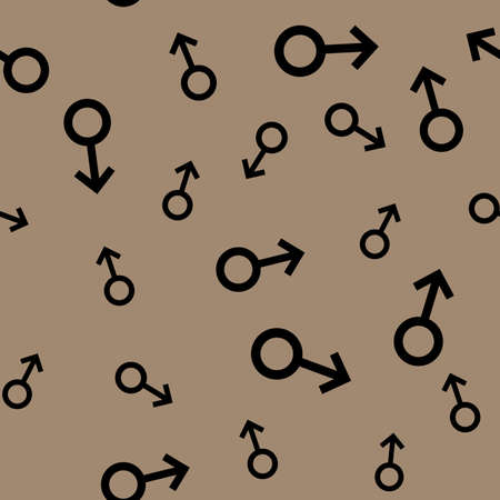 manhood: Seamless pattern with black male symbols. Male small signs different sizes. Pattern on brown background. Vector
