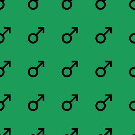 manhood: Seamless pattern with black male symbols. Male signs same sizes. Pattern on green background. Vector
