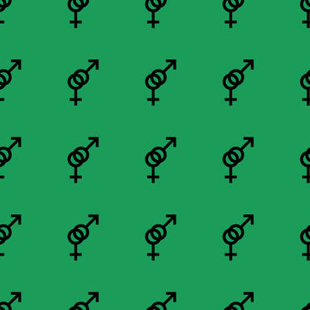 heterosexual: Seamless pattern. Female and male romantic collection. Female and male black small signs same sizes. Pattern on green background. Vector