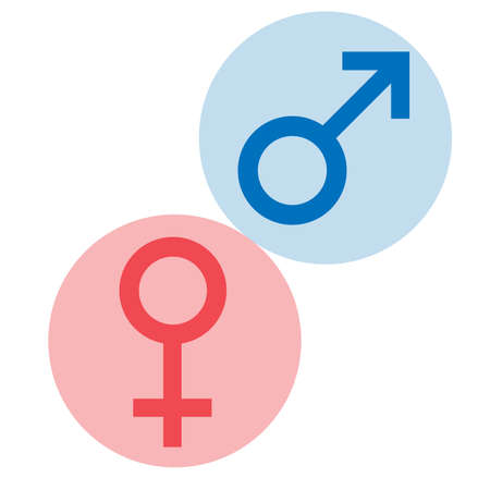 Sex symbols. Gender woman and man flat symbols. Red Female and blue Male abstract symbols in circle. Vector